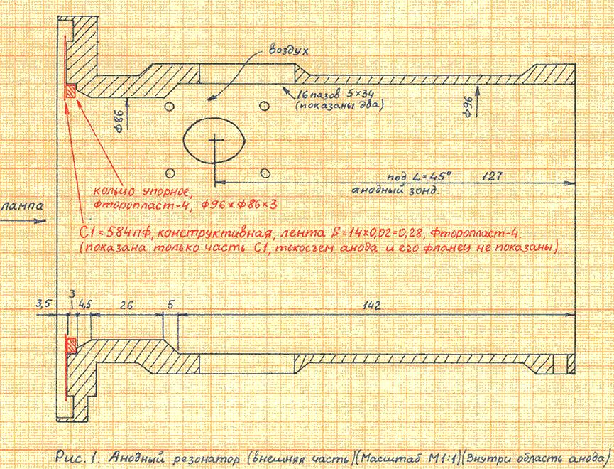 Разрез внешней части анодного резонатора