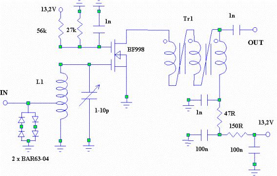 Рис. 1: стандартная схема для двухзатворного MOSFET LNA и максимальное согласование по выходной мощности.