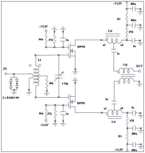 схема на двух BF998.
